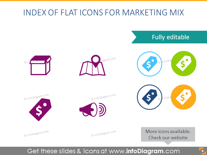 Simple Flat Icons Index for Marketing Mix Presentation Slides