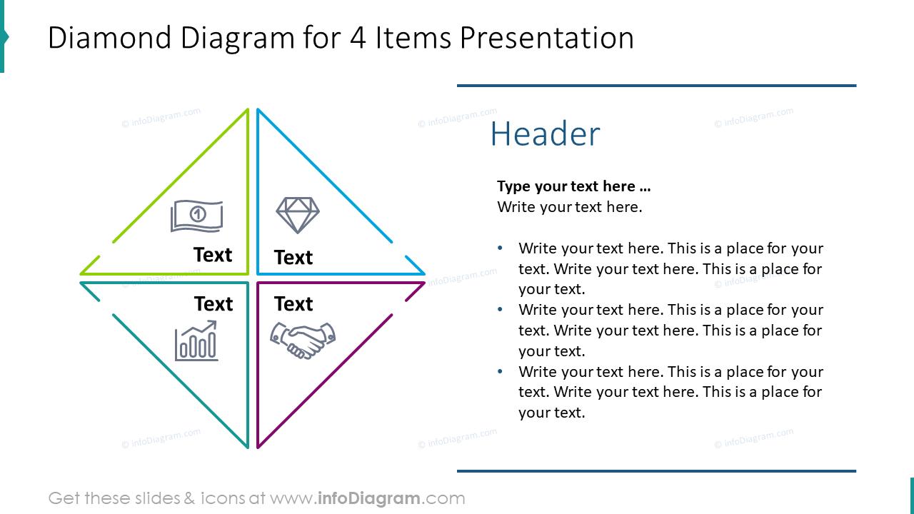 Diamond diagram for four items presentation