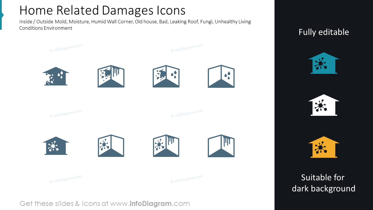 Home damages:inside outside mold, moisture; insurance, claim icon ppt