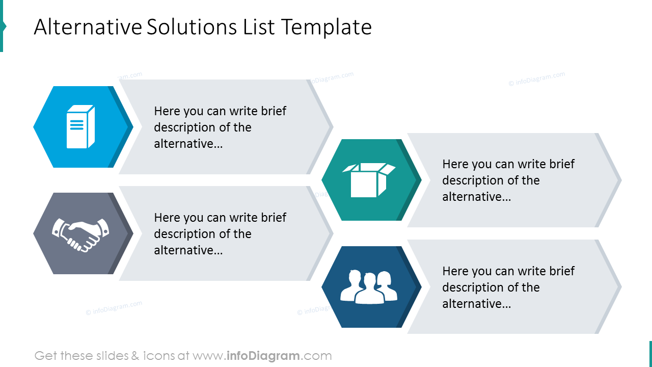 Alternative solutions list with honeycomb graphics