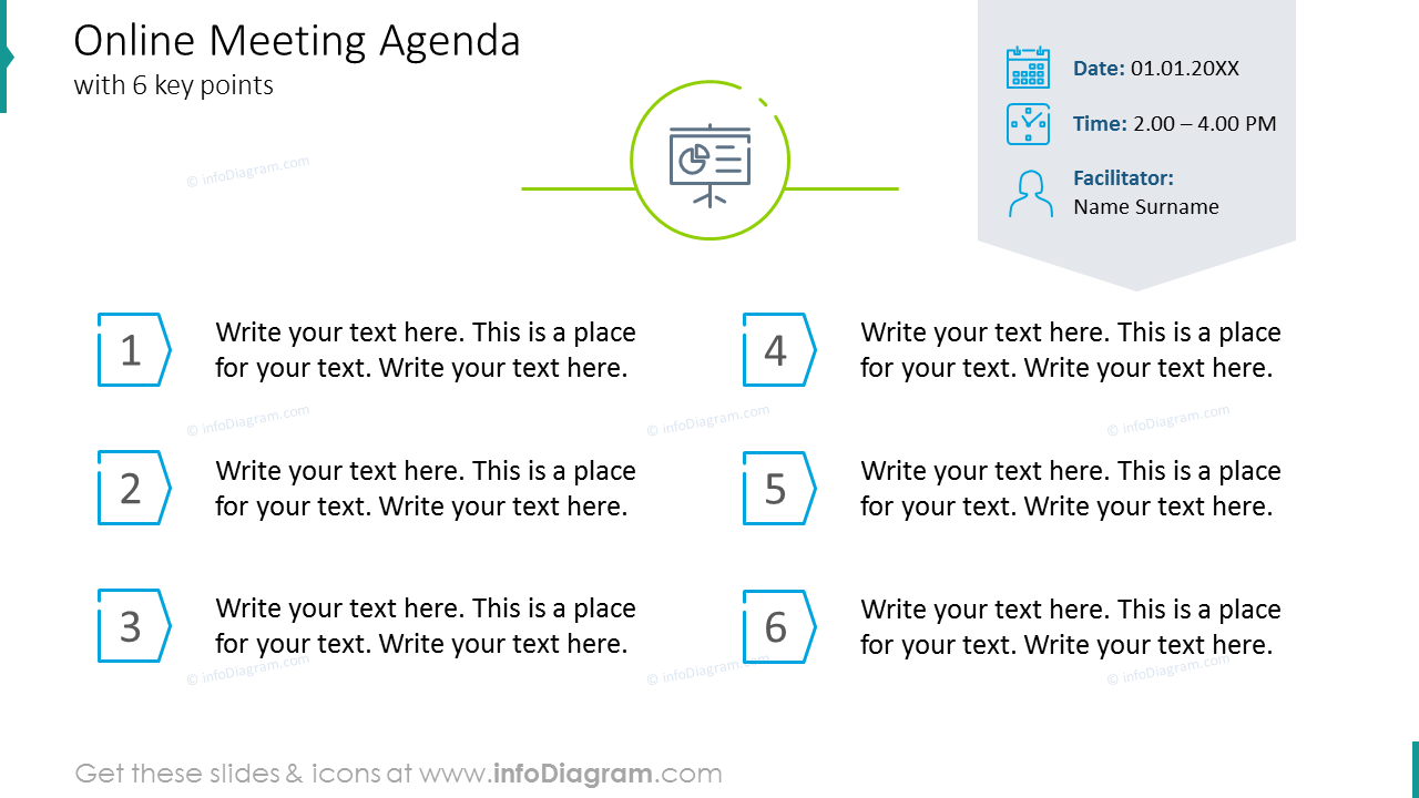 Online meeting agenda with six key points
