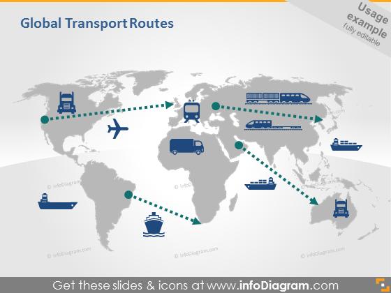 Global transport routes pptx diagram slide