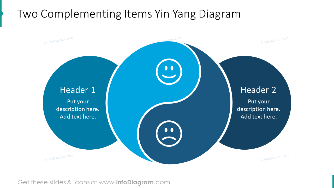 Two complementing items Yin Yang diagram