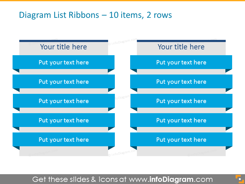 Diagram List Ribbons for 10 items, organised in 2 rows