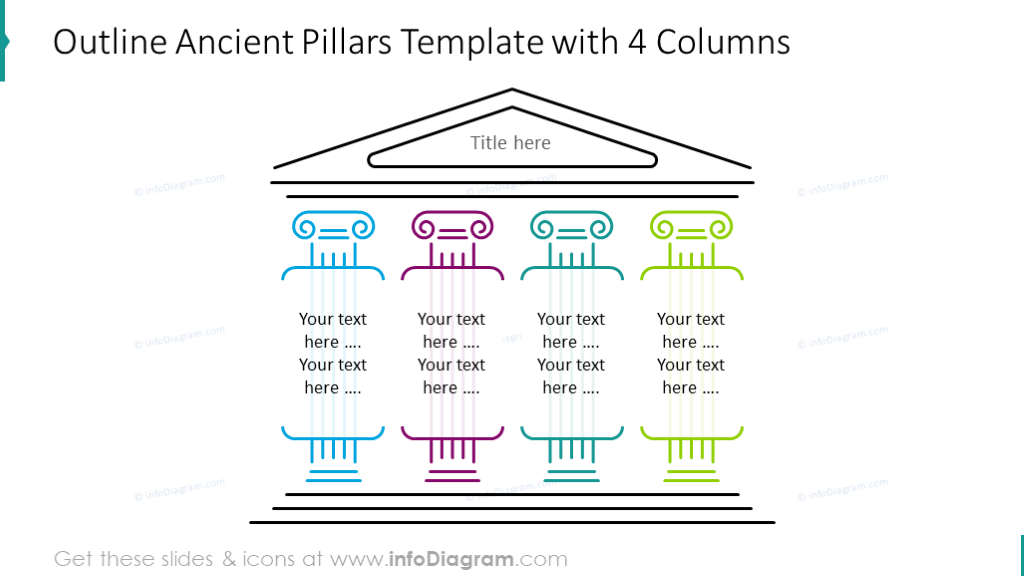 Ancient pillars template with 4 columns