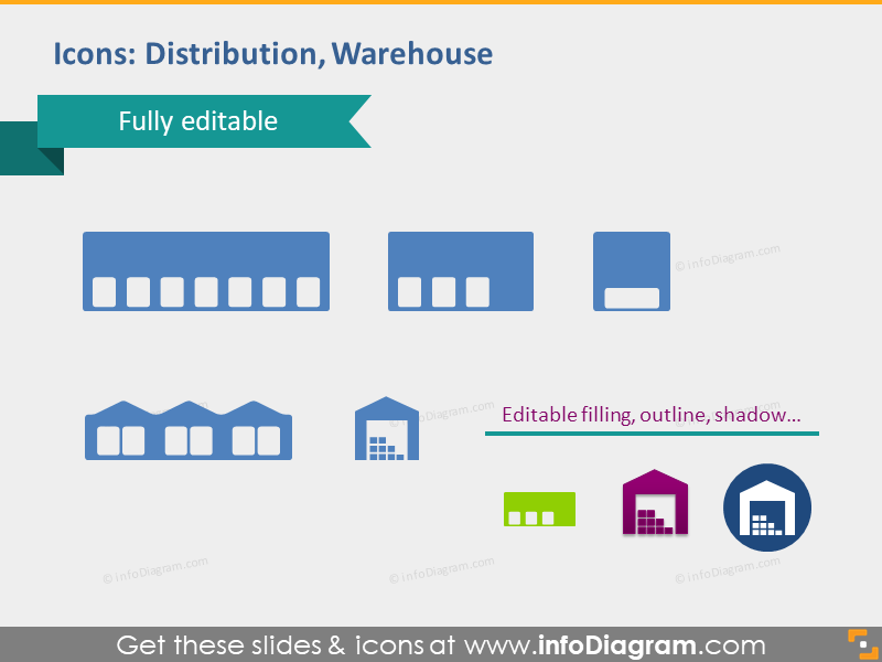 Distribution warehouse magazine icons editable