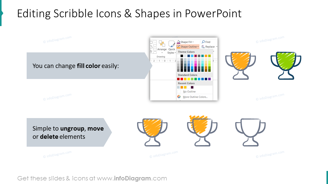 Editability of scribble icons and shapes in PowerPoint