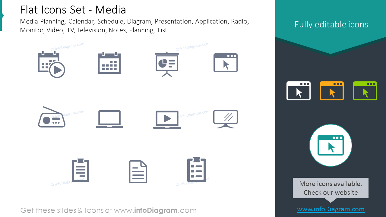Icons Set: Media Planning, Calendar, Schedule, Application, Monitor