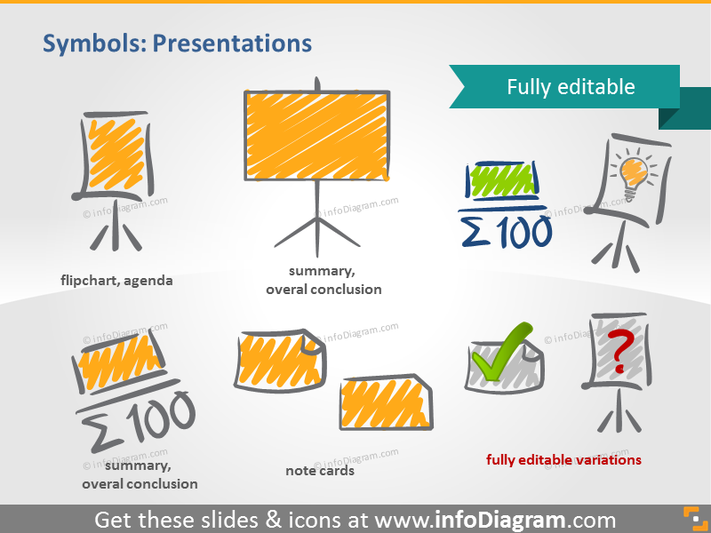 scribble presentation flipchart symbols handwritten pictograms icons ppt...