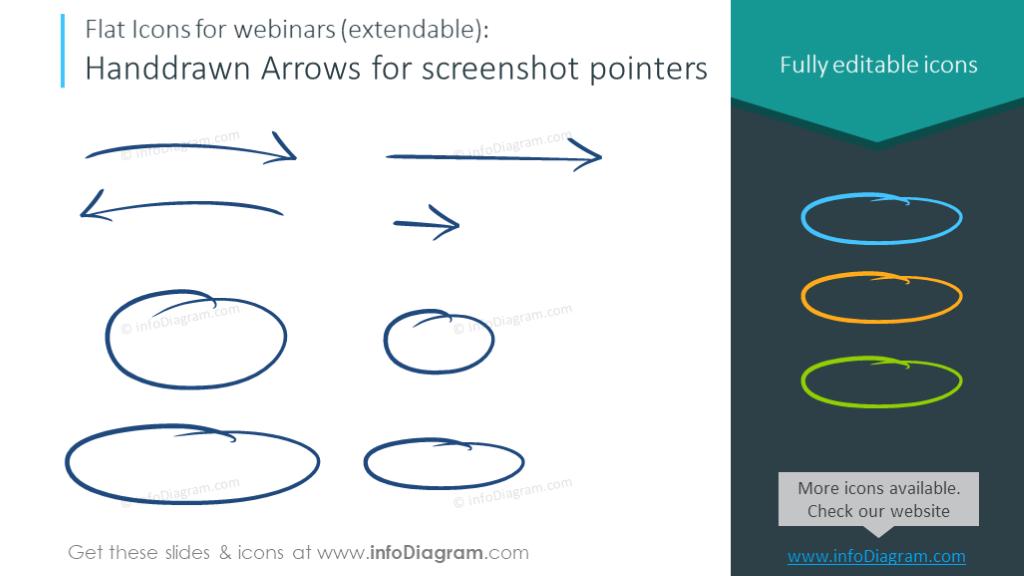 Webinars symbols set - handdrow arrows