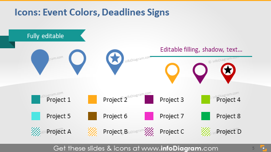 Event colors deadline signs powerpoint