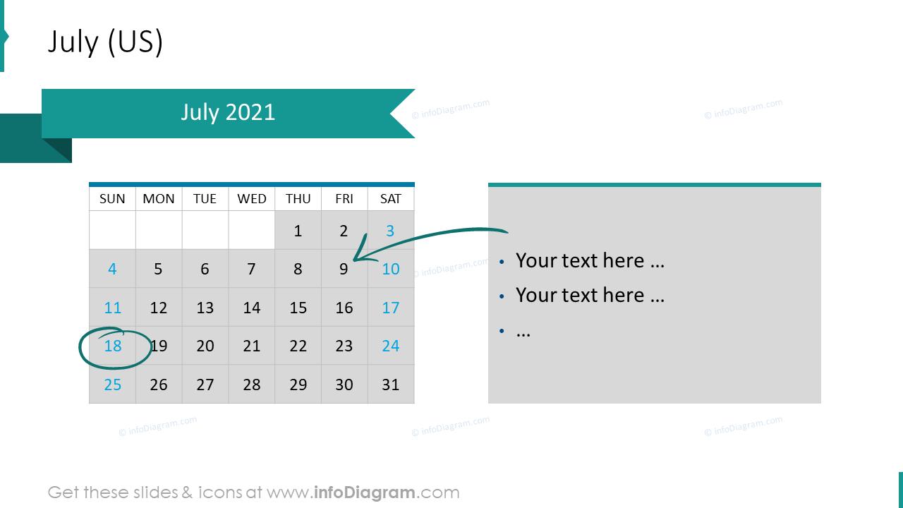 July 2020 US Calendars
