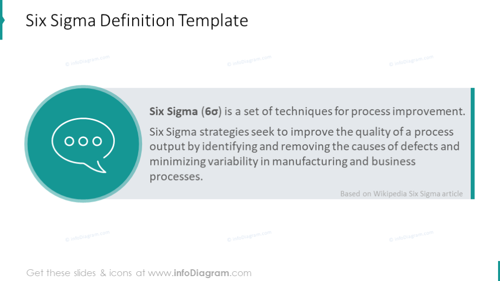 Explaining Six Sigma Presentation Diagrams PPT template with 6S principles,  concepts and DMAIC process PowerPoint charts