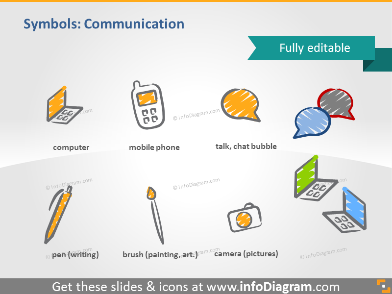 scribble communication chat symbols handwritten pictograms icons ppt clipart