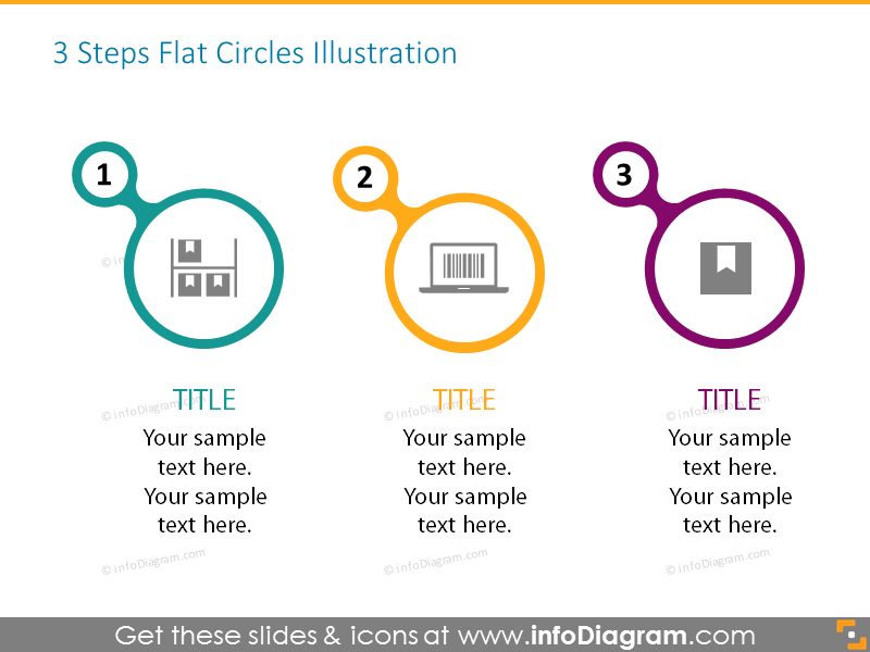 3 steps flat circles list with icons and place for description, ideal fo...
