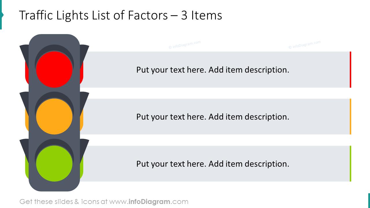 Traffic lights list of factors diagram for three items