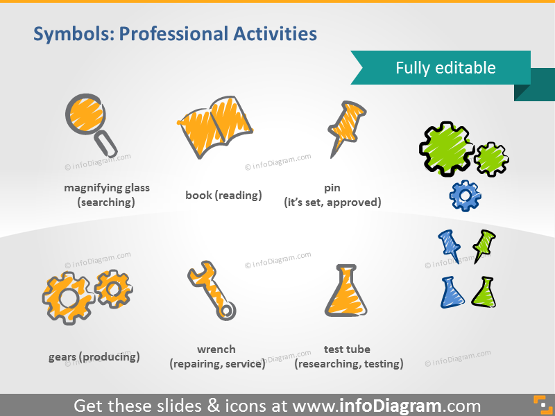 scribble activities symbols producing handwritten pictograms icons ppt clipart