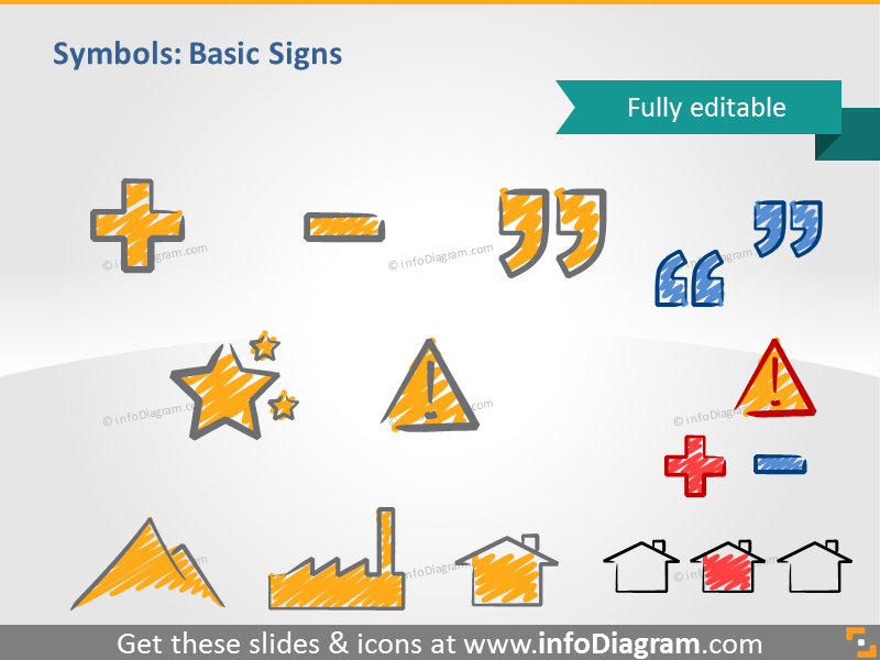 scribble basic signs quotation mark handwritten pictograms icons ppt cli...