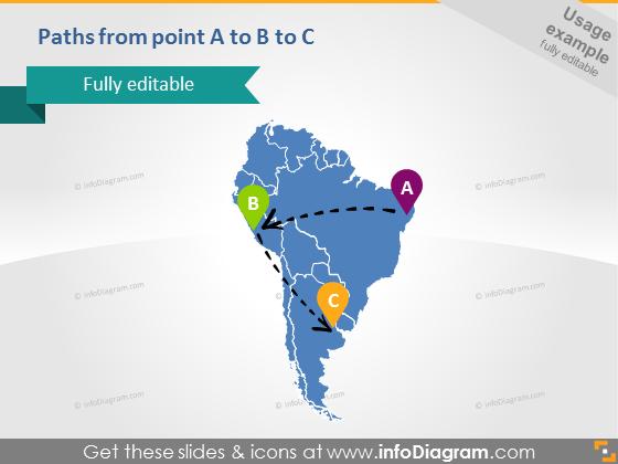 South America Map Route Arrows Brazil Peru Argentina PPTX