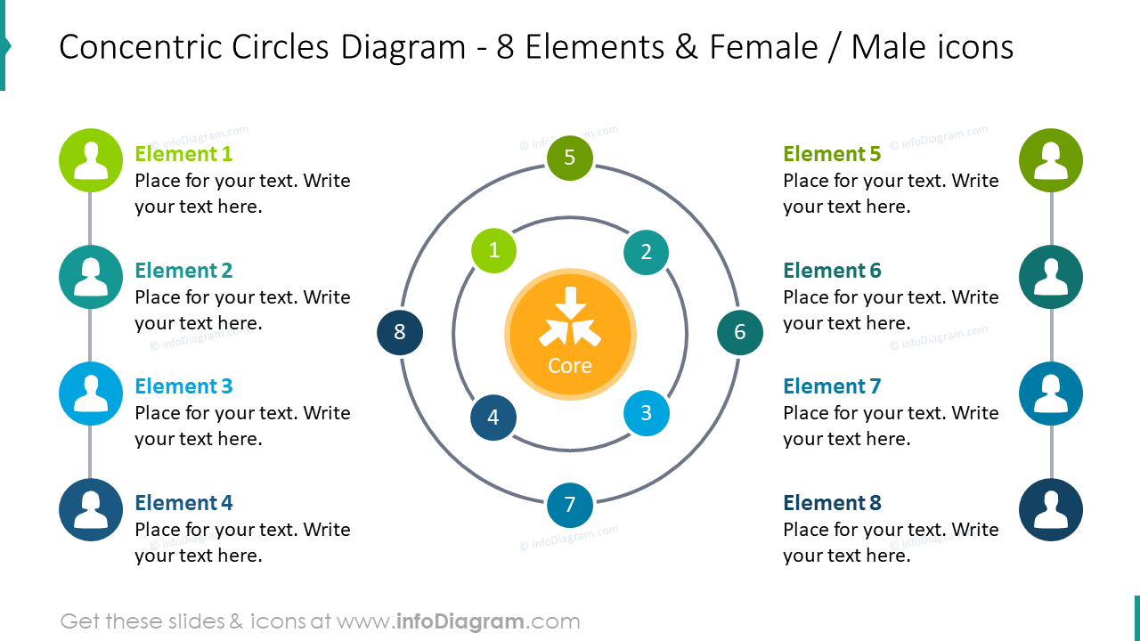 Concentric circles diagram for 8 items