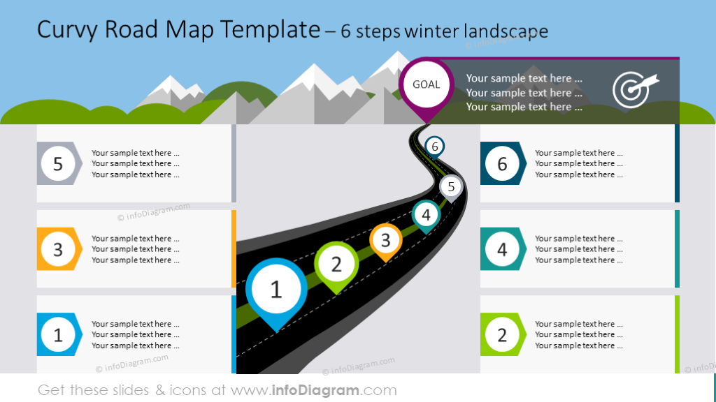 12 road map infographics powerpoint templates for product