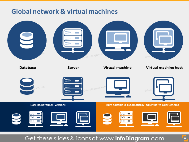 global network PPT icons Database Server Virtual Machine Host
