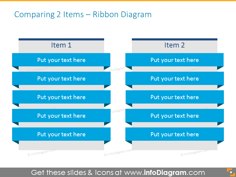 Ribbon Diagram Comparing 2 Items vertical rows