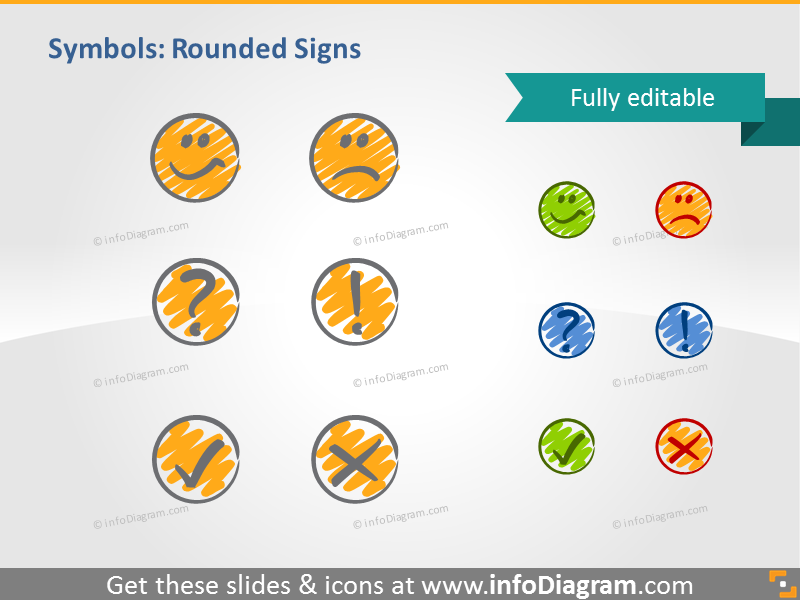 scribble round signs smiley OK handwritten pictograms icons ppt clipart
