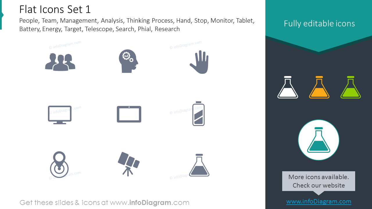 Icons Set: Thinking Process, Energy, Target, Telescope, Phial, Research