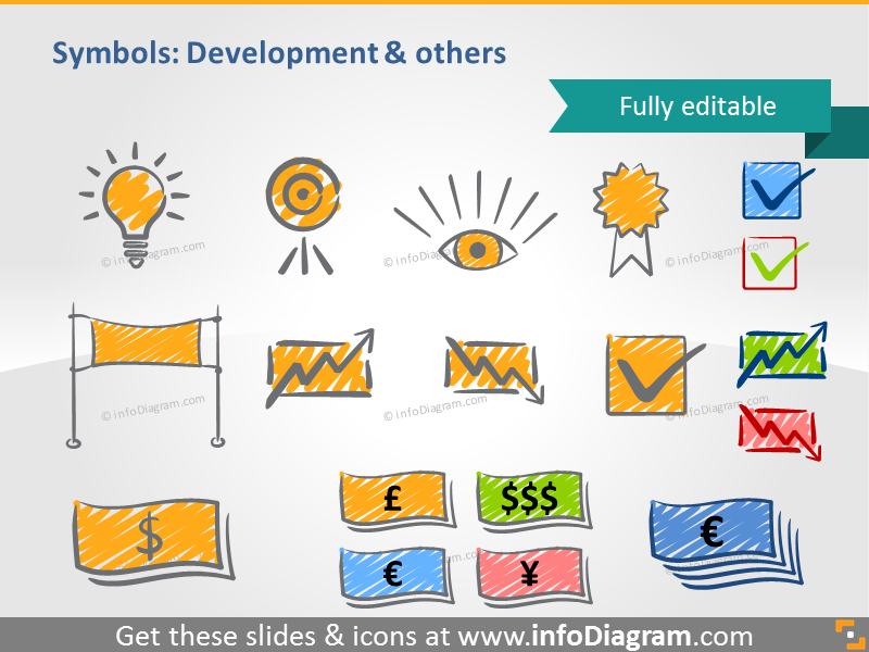scribble development symbols bulb target handwritten pictograms icons pp...