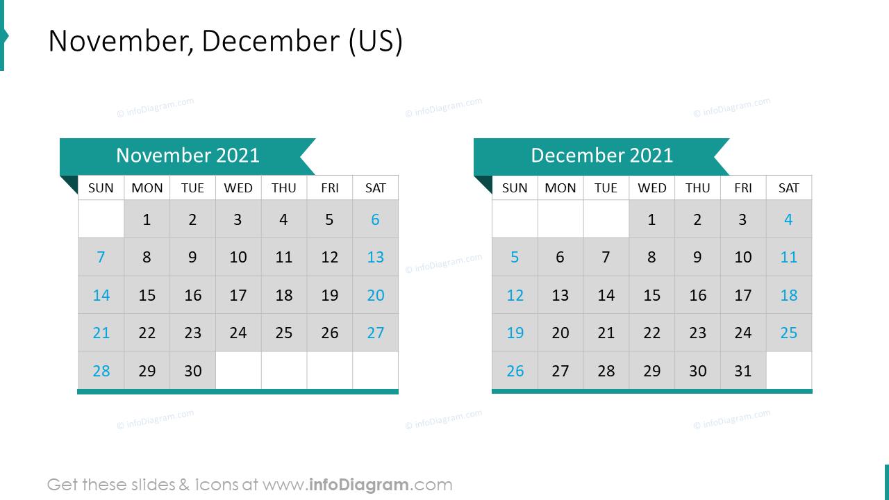 November December 2020 US Calendar