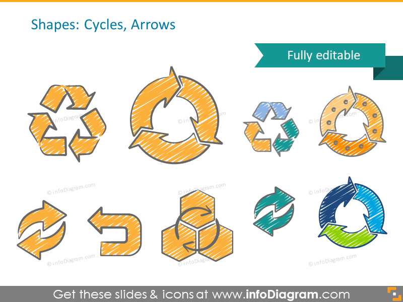 sketch recycle arrows scribble powerpoint clipart