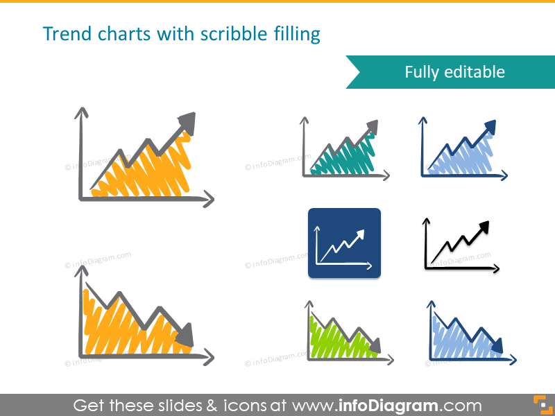 scribble trend chart up down symbols handwritten pictograms icons ppt clipart