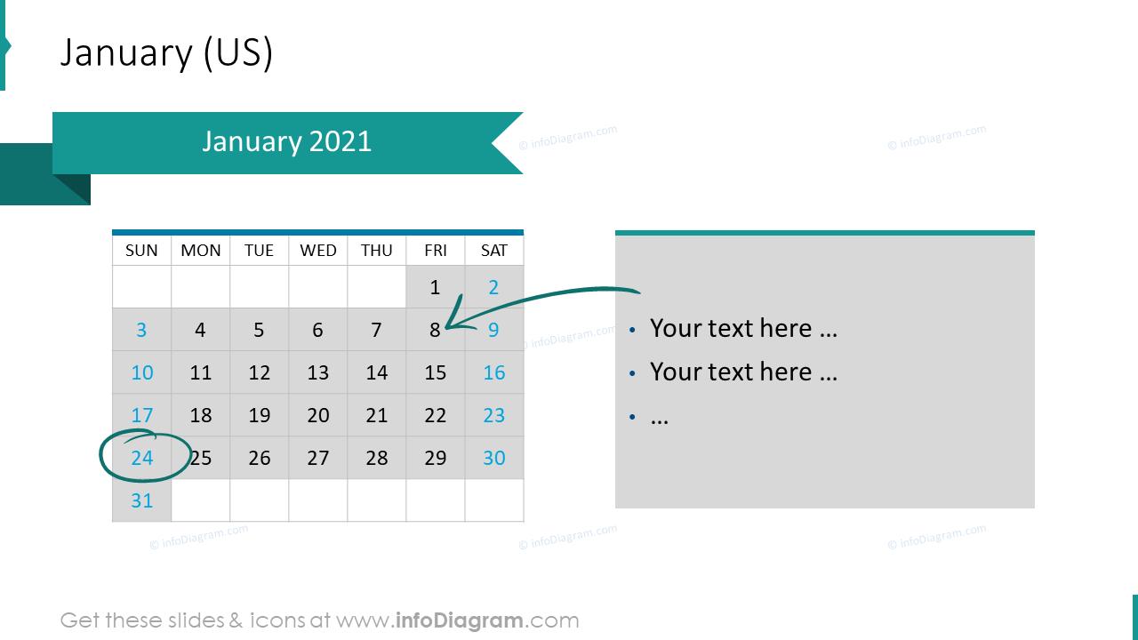 January 2020 US Calendars