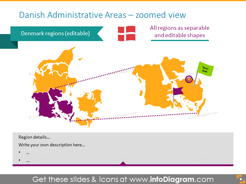 Danish administrative areas illustrated with zoomed view
