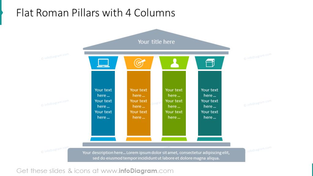 Flat roman pillars 4 columnsdiagram