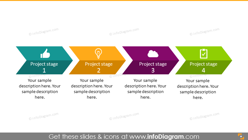 Linear project plan roadmap arrow – 4 stages