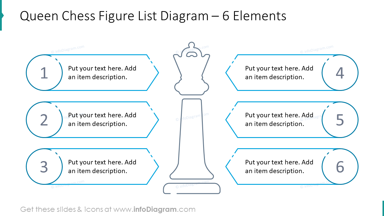 Queen chess figure list diagram for six elements