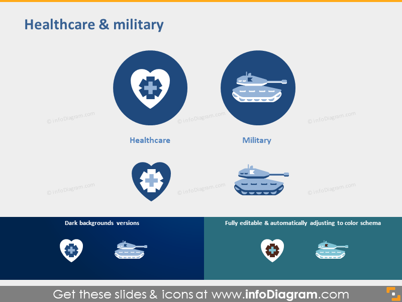 Healthcare pictogram military sector symbol powerpoint icon