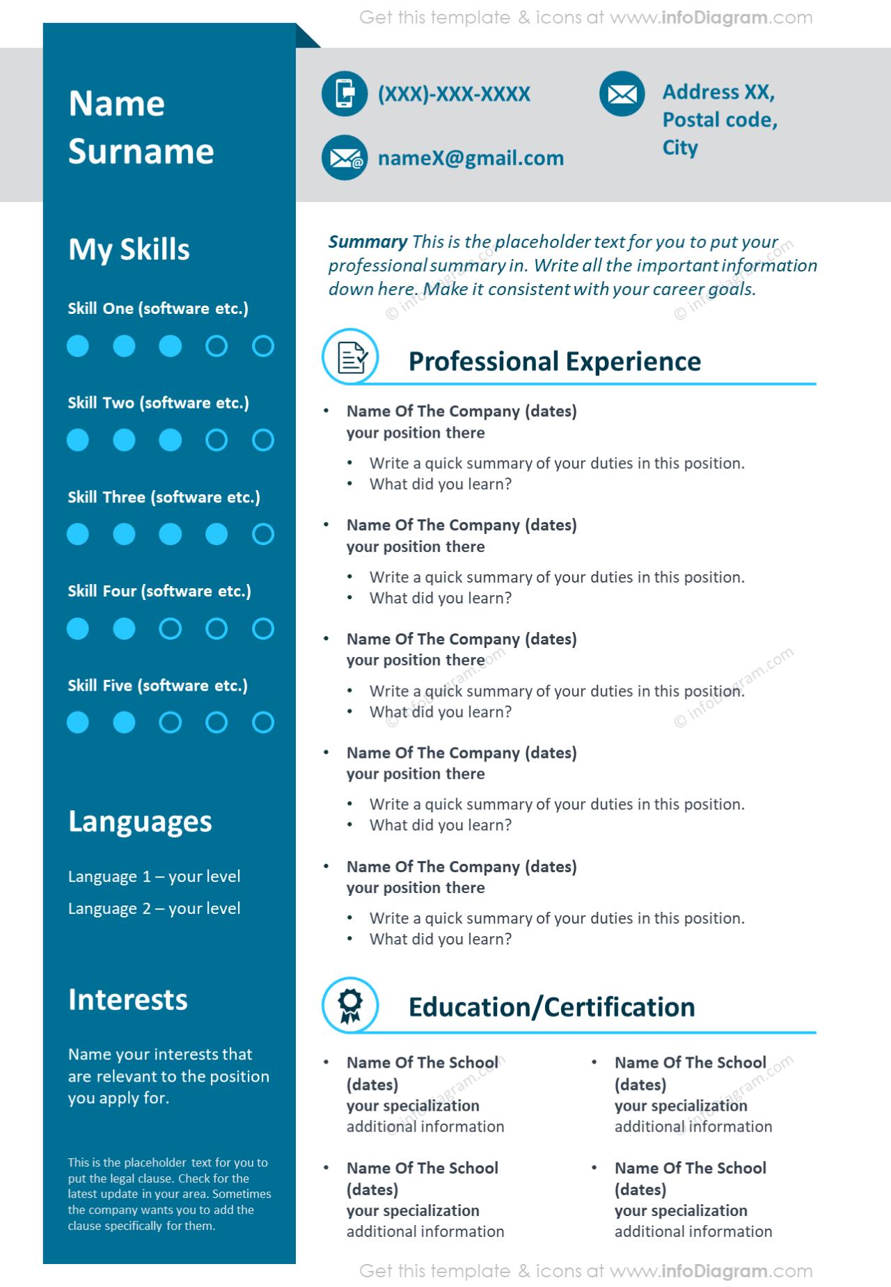 Professional blue ribbon visual curriculum vitae template