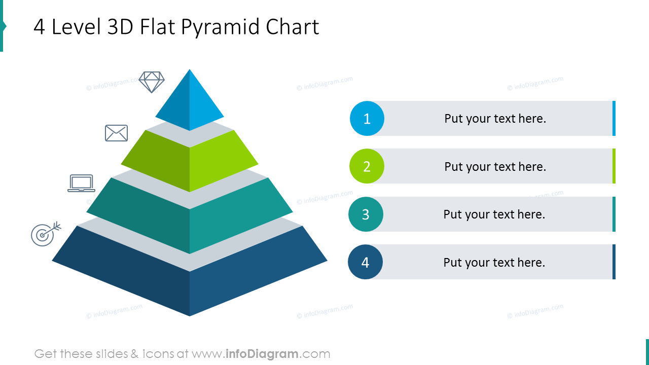 Four level 3D flat pyramid chart