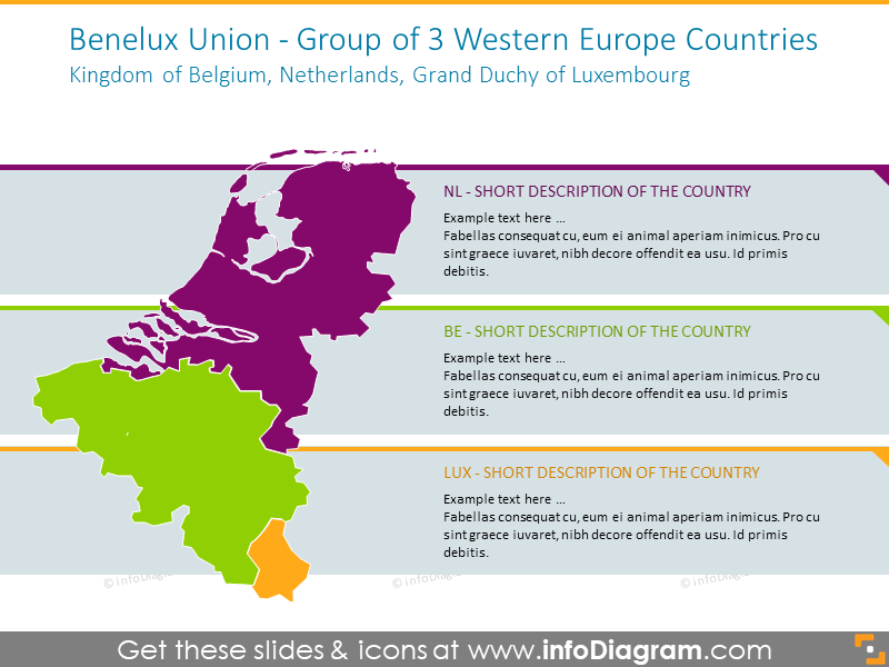 3 Western Europe countries map: Belgium, Netherlands, Luxembourg