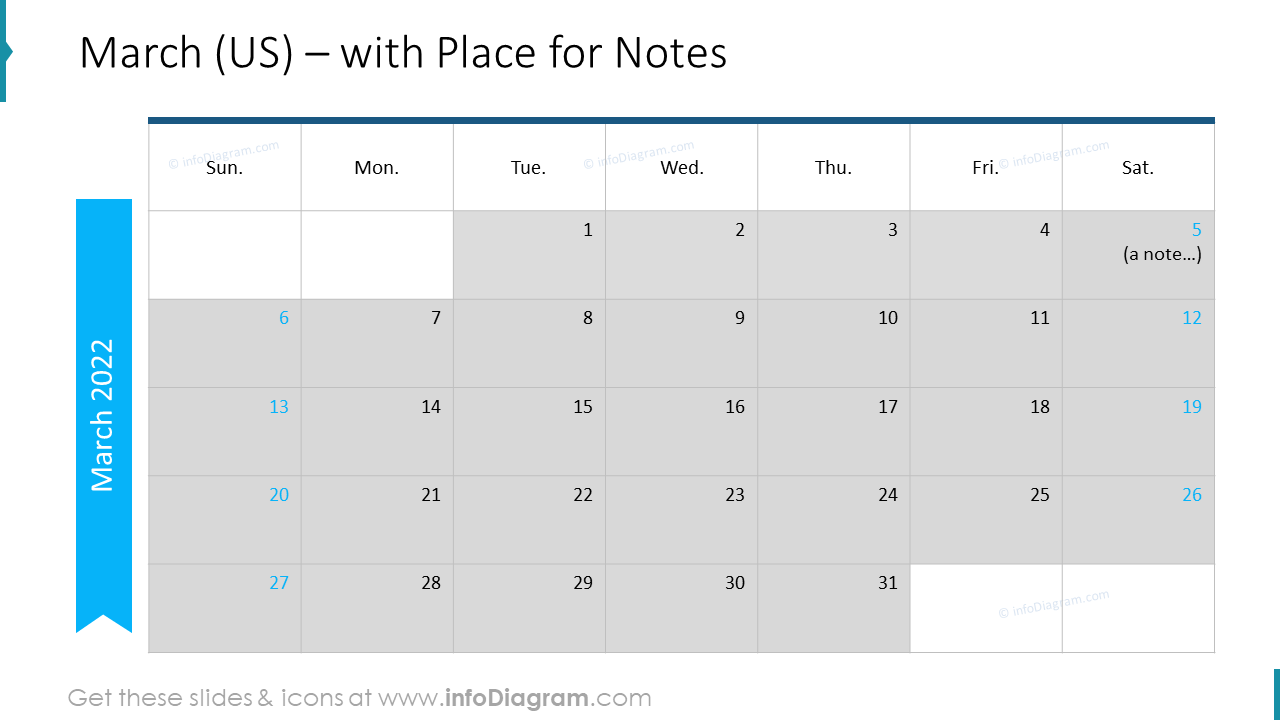 March Calendars 2020 US with notes plan