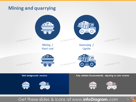 mining quarrying coal lignite sector icons powerpoint