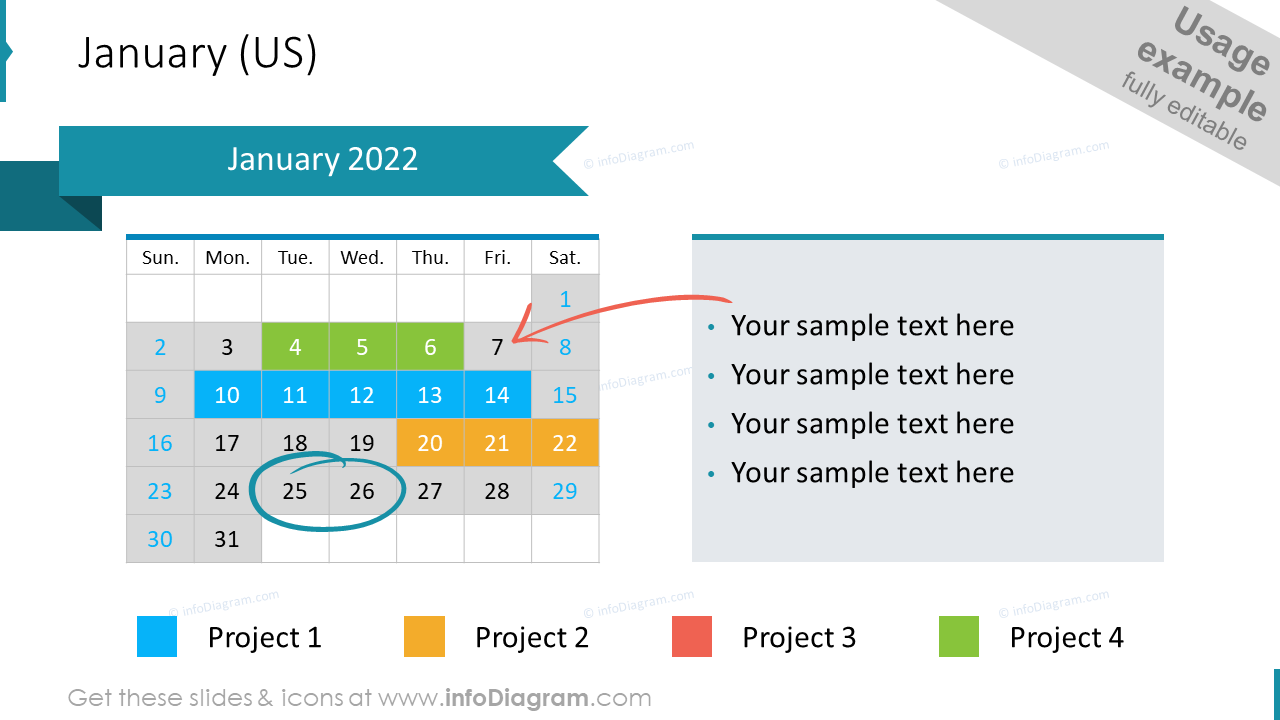 US Calendar 2022 January Example