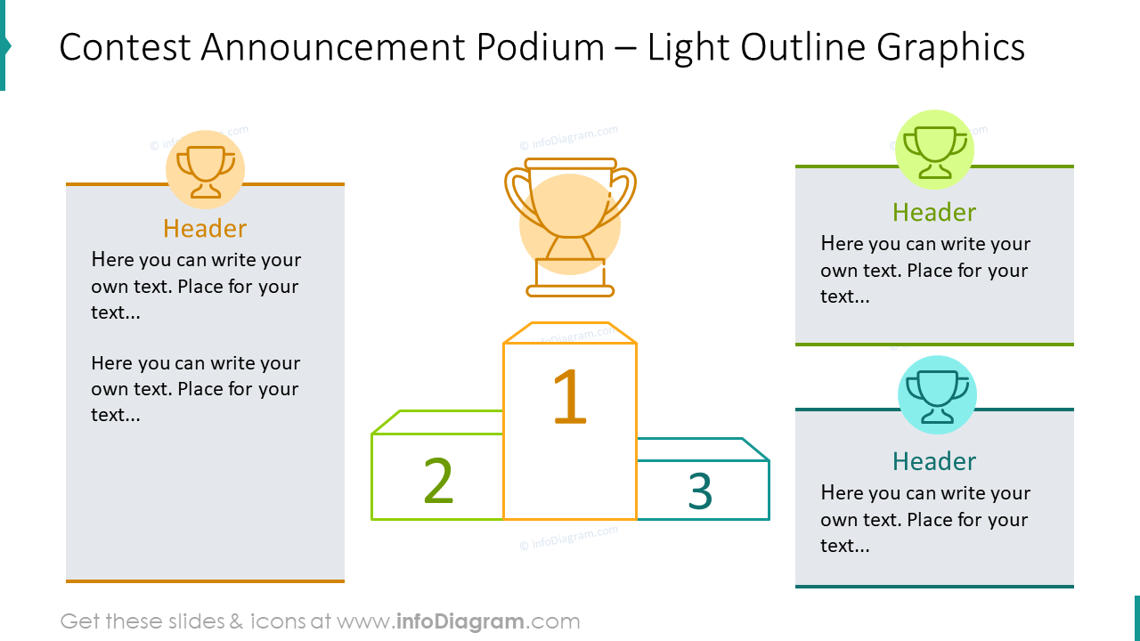 Contest announcement podium with light outline infographics