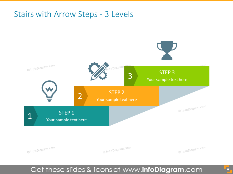Staircase Powerpoint Template with Arrows and Icons