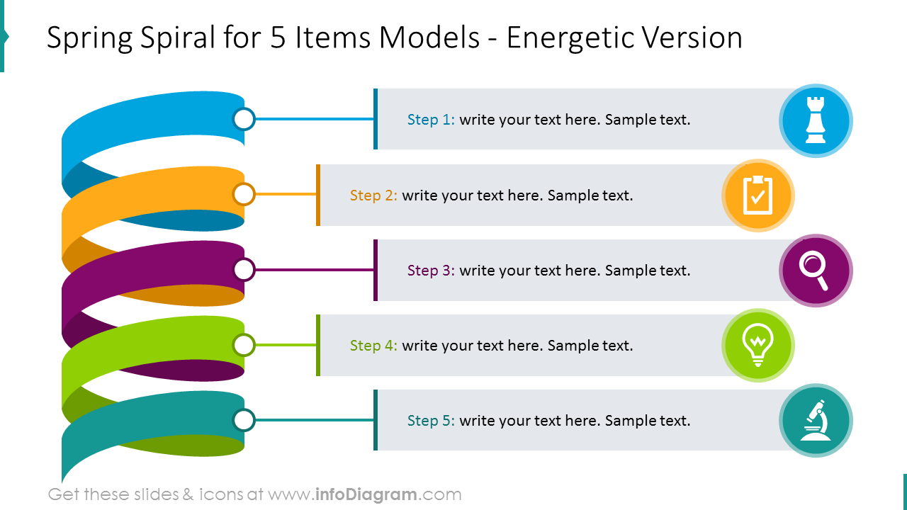 Five items spiral diagram illustrated with colors