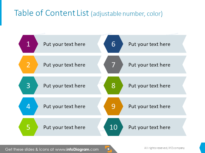 Example of the table of content illustrated with creative bullet points