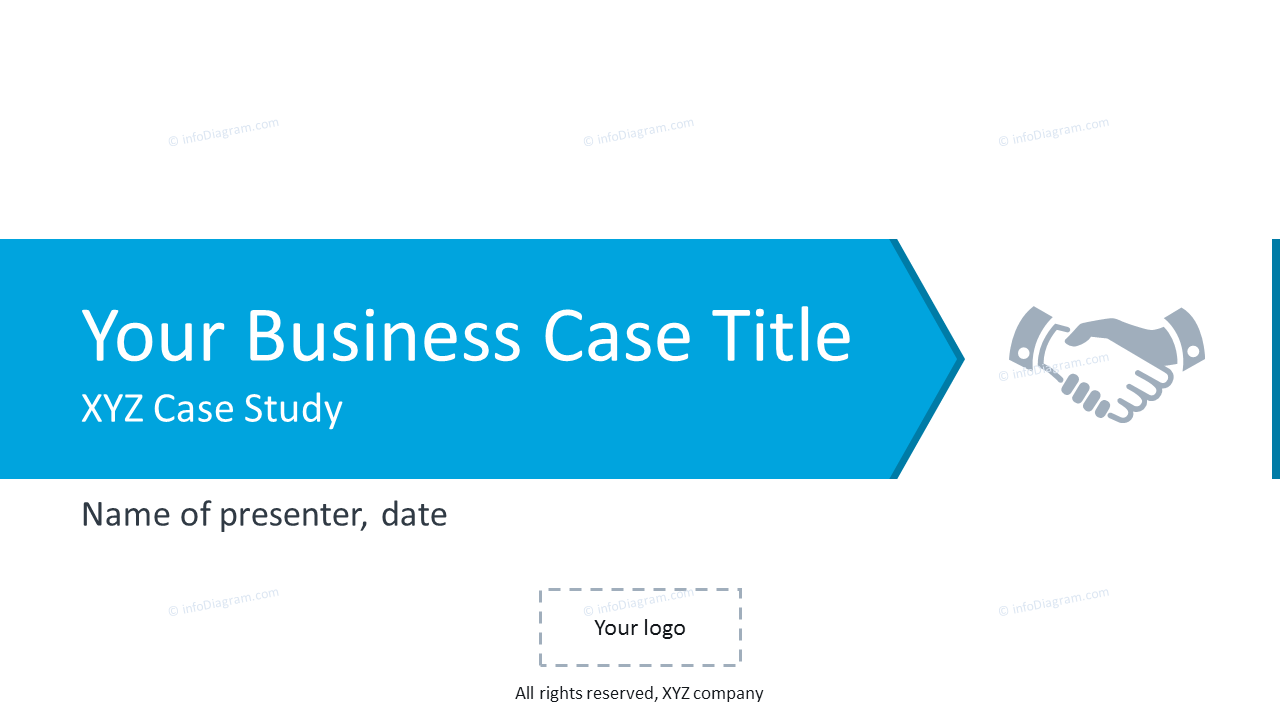 Business case title slide with handshake icon